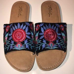 Embroidered slide sandals